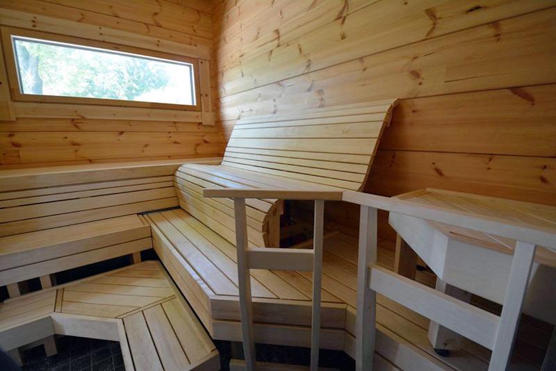 Muotolaude-mallistomme asiakkaan saunaan
